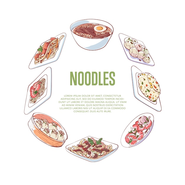 Banner de fideos chinos con platos asiáticos Vector Premium