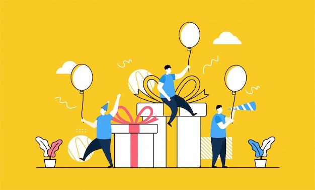 Banner de fiesta de cumpleaños Vector Premium