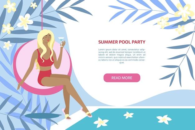 Banner de fiesta en la piscina de verano mujer sentada con cóctel cerca de la piscina Vector Premium