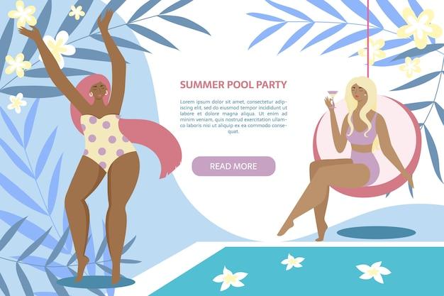 Banner de fiesta de piscina de verano. mujeres junto a la piscina con hojas Vector Premium