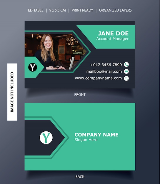 Banner de flecha moderna plantilla de tarjeta de visita Vector Premium