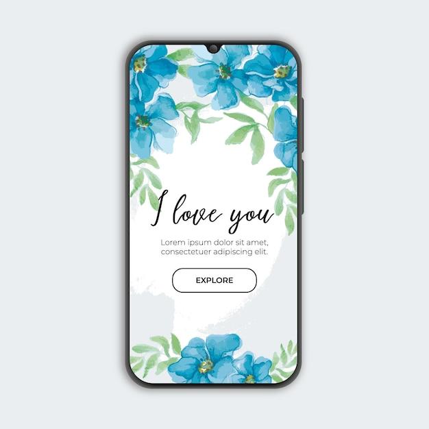 Banner floral azul con smarthphone vector gratuito