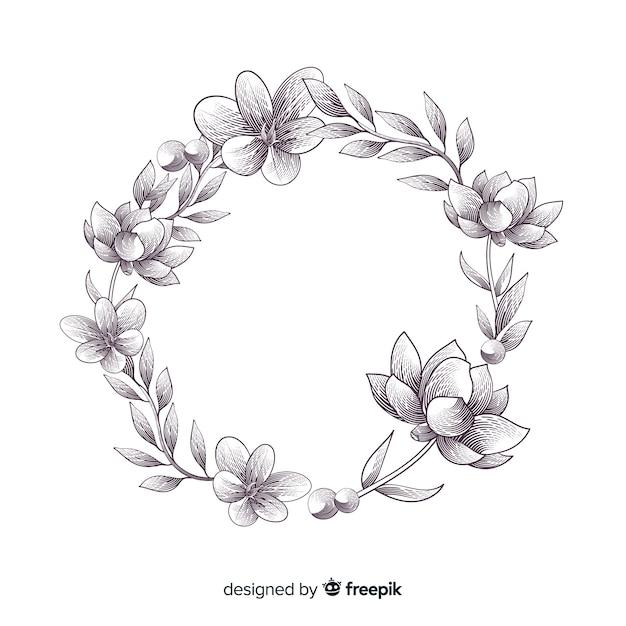 Banner floral dibujado a mano realista vector gratuito
