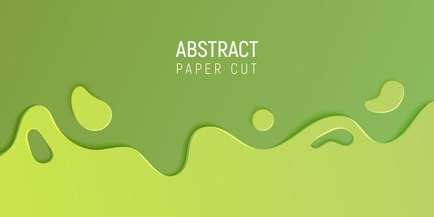 Banner con fondo abstracto limo con ondas de corte de papel verde Vector Premium