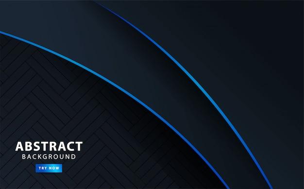 Banner de fondo abstracto oscuro moderno premium con línea azul. ilustración. Vector Premium