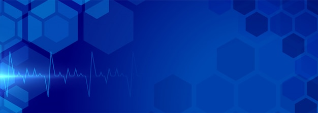 Banner de fondo de salud con electrocardiograma médico vector gratuito