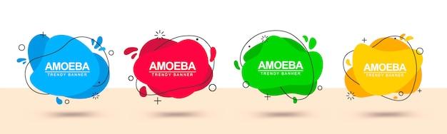 Banner con formas abstractas rojas, verdes, amarillas y azules Vector Premium