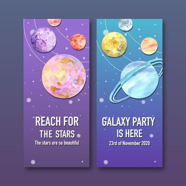 Banner de galaxia con ilustración acuarela de planetas. vector gratuito