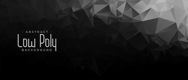 Banner geométrico abstracto negro y oscuro bajo poli vector gratuito