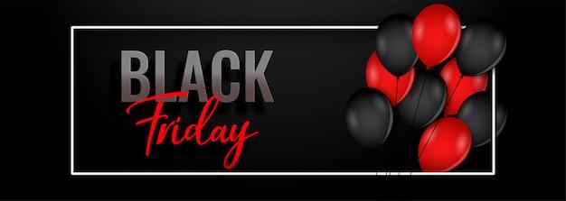 Banner de globo de viernes negro vector gratuito