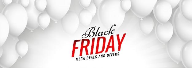 Banner de globos blancos de venta de viernes negro vector gratuito