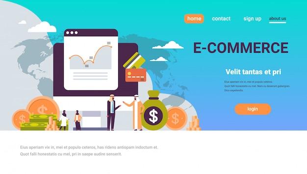 Banner de gráfico de dinero de gente de negocios árabes Vector Premium