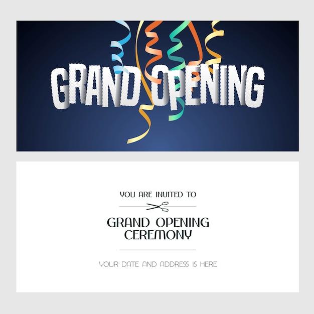 Banner de gran inauguración, ilustración, tarjeta de invitación. plantilla de invitación festiva con texto para ceremonia de apertura. Vector Premium