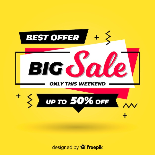 Banner de gran venta en diseño plano. vector gratuito