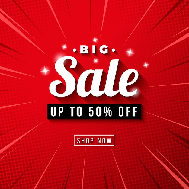 Banner de gran venta con fondo de zoom comic rojo vector gratuito