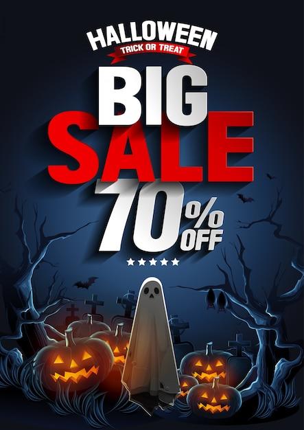 Banner de gran venta de halloween con ghost flotando en el aire y calabazas en la noche. Vector Premium