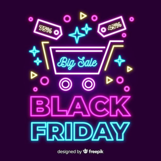 Banner de gran venta de viernes negro de neón vector gratuito
