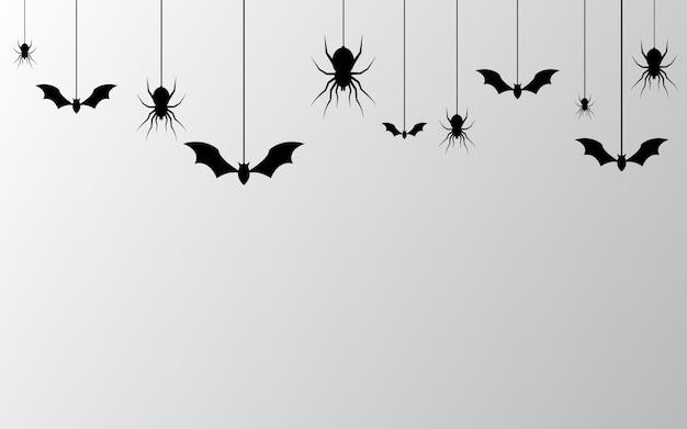 Banner de halloween con fondo de arañas Vector Premium