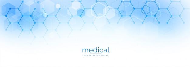 Banner hexagonal de ciencia médica y salud. vector gratuito