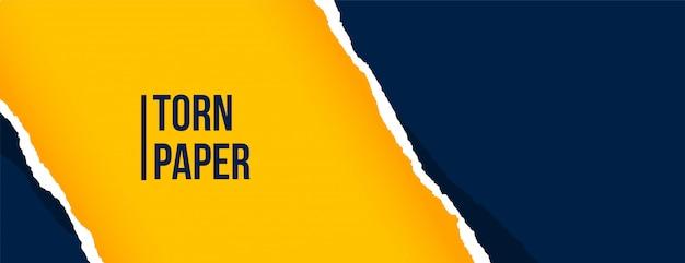 Banner de hoja de papel rasgado azul y amarillo vector gratuito