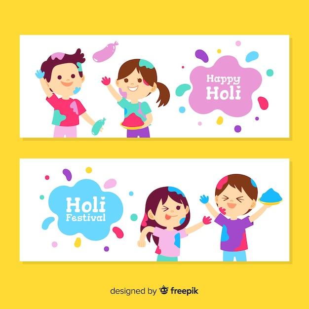 Banner de holi festival en diseño plano vector gratuito