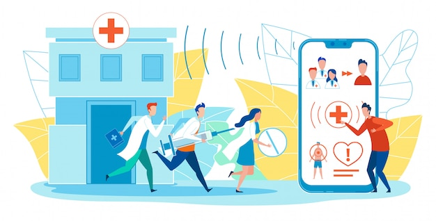 Banner horizontal de ambulancia de aplicación plana. Vector Premium