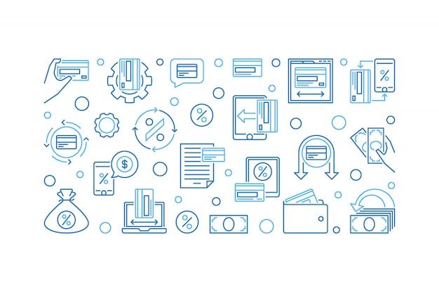 Banner horizontal de devolución de efectivo, ilustración de icono azul de devolución de efectivo Vector Premium