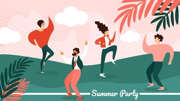 Banner horizontal de fiesta de verano. festival de música Vector Premium