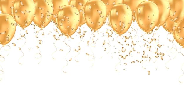 Banner horizontal con globos de helio dorado. Vector Premium