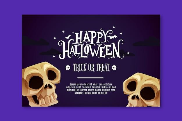 Banner horizontal de halloween Vector Premium
