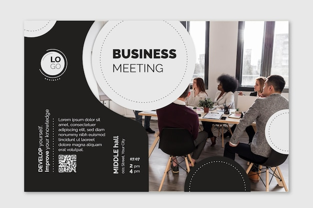 Banner horizontal de negocios generales vector gratuito
