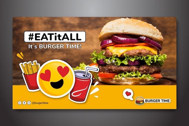 Banner horizontal para restaurante de hamburguesas vector gratuito