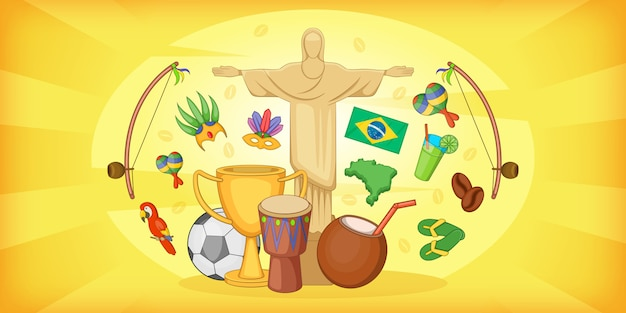 Banner horizontal de viajes de brasil, estilo de dibujos animados Vector Premium