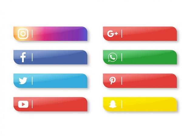 Banner de icono de redes sociales aislado sobre fondo blanco. Vector Premium
