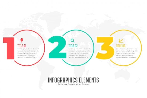 Banner infográfico moderno de tres pasos. vector gratuito
