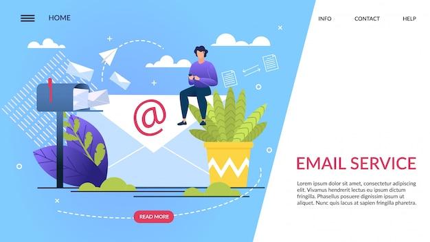 Banner informativo es servicio de correo electrónico escrito Vector Premium