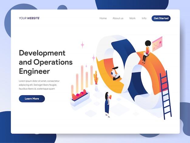 Banner de ingeniero de desarrollo y operaciones de la página de destino Vector Premium