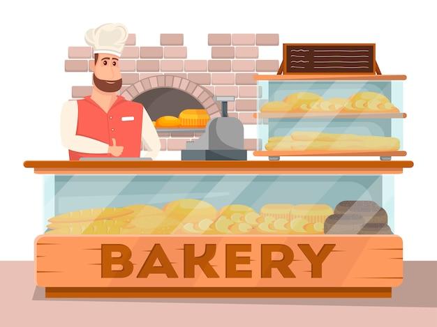 Banner interior de tienda de panadería en estilo de dibujos animados Vector Premium