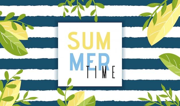 Banner de invitación de horario de verano en estilo natural de dibujos animados Vector Premium