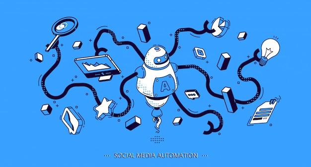 Banner isométrico de automatización de redes sociales. seo vector gratuito