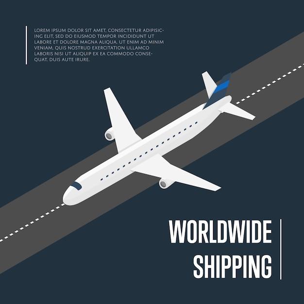 Banner isométrico de envío mundial con avión Vector Premium