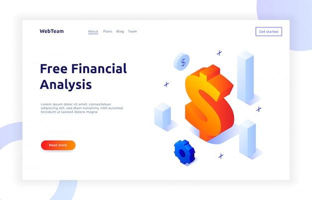 Banner isométrico de finanzas y marketing. Vector Premium