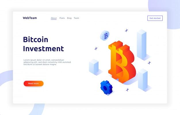 Banner isométrico de inversión bitcoin Vector Premium