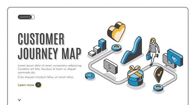 Banner isométrico de mapa de viaje del cliente vector gratuito