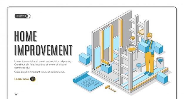 Banner isométrico de mejoras para el hogar vector gratuito