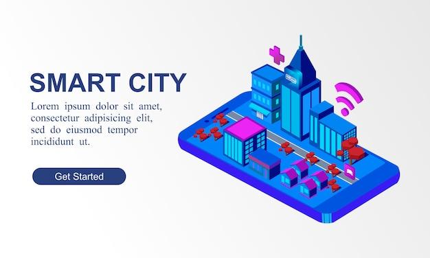 Banner isométrico moderno de ciudad inteligente Vector Premium