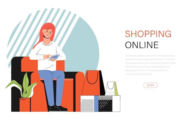 Banner de una joven mujer de compras en línea con un teléfono en el sofá Vector Premium
