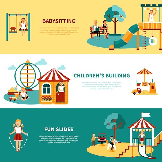 Banner de juegos para niños vector gratuito