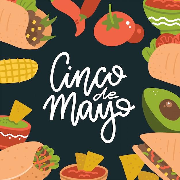 Banner de letras del cinco de mayo con comida mexicana: guacamole, quesadilla, burrito, tacos, nachos, chile con carne e ingrediente. ilustración plana sobre fondo oscuro Vector Premium