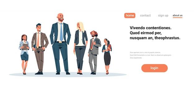 Banner de líder de equipo de gente de negocios Vector Premium